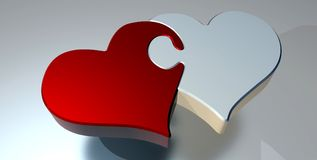 Puzzle, Heart, Love, Two Hearts Stock Photos