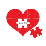 Puzzle heart. Love and unity for design work. Or for Valentine`s Day Stock Images