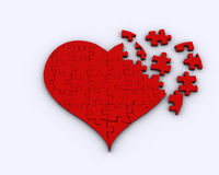 Puzzle Heart Partially Broken Royalty Free Stock Image