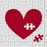Puzzle heart. Red puzzle heart. Vector illustration royalty free illustration