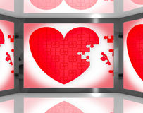 Puzzle Heart On Screen Showing Romantic Movie Royalty Free Stock Image