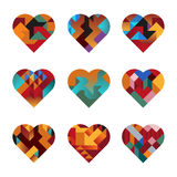 Puzzle Hearts. Contemporary Hearts of Interlocking Abstract Shapes (jpeg file has clipping path Royalty Free Stock Image