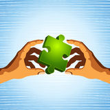 Puzzle hold in hand. People transfer a puzzle - Teamwork concept Business concept Royalty Free Stock Image