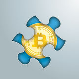 Puzzle Hole Golden Bitcoin. Puzzle hole on the grey background with golden bitcoin in the hole Stock Photography