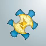 Puzzle Hole Golden Ethereum. Puzzle hole on the grey background with golden ethereum coin in the hole Stock Photography
