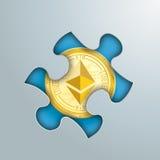 Puzzle Hole Golden Ethereum Stock Photography