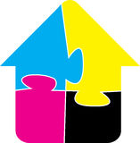 Puzzle home. Illustration art of a puzzle home with isolated background Stock Photos