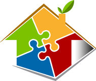 Puzzle home. Illustration art of a puzzle home with isolated background Stock Photography