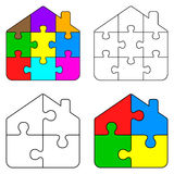 Puzzle home. Illustration of puzzle home on white background Stock Images