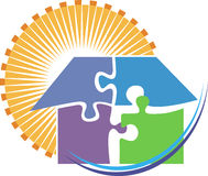 Puzzle home logo Royalty Free Stock Images