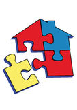 PUZZLE HOME WITH Red blue yellow coors. Stock Image