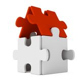 Puzzle home with red roof. Puzzle home on whihe background Royalty Free Stock Photography