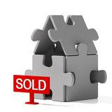Puzzle home sold Stock Photo