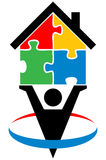 Puzzle home. Vector illustration of puzzle home logo Stock Images