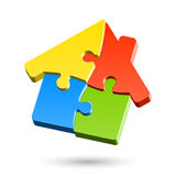 Puzzle house. House made of puzzle vector illustration Royalty Free Stock Photos