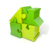 Puzzle house green. Green puzzle house  white background Stock Images