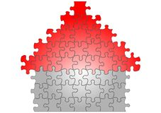 Puzzle house illustration Royalty Free Stock Photos