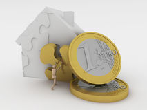 Puzzle house and money. Stock Photos