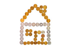 Puzzle house. House sketch arranged from coins Stock Images