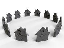 Puzzle houses circular array Stock Photo