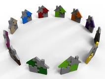 Puzzle houses color diversity Stock Images