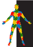 Puzzle human body. Man silhouette Stock Images