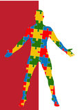 Puzzle human body. Man silhouette Stock Photography