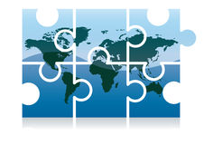 Puzzle icon. Shiny jigsaw world map puzzle icon, vector illustration - base map: Tinka Sloss /Reusable NASA images Stock Photography