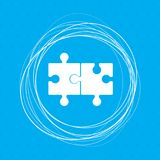 Puzzle icon on a blue background with abstract circles around and place for your text. Illustration Royalty Free Stock Photography