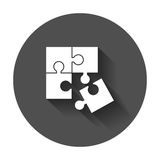 Puzzle icon. Flat illustration with long shadow Stock Image