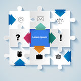 Puzzle with icons for business concepts Royalty Free Stock Photo