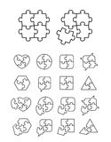 Puzzle icons set - complete and incomplete Stock Photos