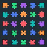 Puzzle icons set, jigsaw pieces. Puzzle icons set, jigsaw parts and pieces inb all variations Royalty Free Stock Image