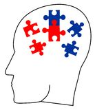 Puzzle ideas. Thinking head doing a puzzle Royalty Free Stock Images
