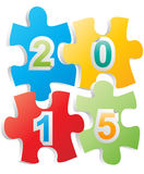 2015 puzzle. Illustration of 201 text on pieces of puzzle Royalty Free Stock Image