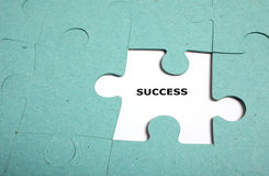 Puzzle incomplete - success Stock Image