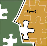 Puzzle incompleto di viso umano Fotografie Stock