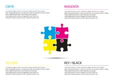 Puzzle infographic business concept with cmyk colors. Four puzzle pieces connected to each other, modern simple vector illustration vector illustration