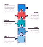 Five puzzle infographic steps. Puzzle infographic bussines concept. Template for business project presentation. Diagram with five puzzle pieces connected to each stock illustration