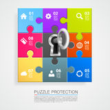 Puzzle infographics with key Stock Image