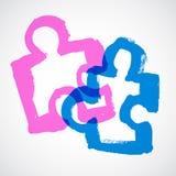 Puzzle Ink Hand Drawn Symbols Stock Image