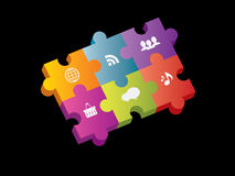Puzzle integration with internet Stock Image