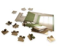 Puzzle with interior image Stock Photos