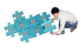 Puzzle je t'aime Photo libre de droits