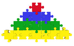 Puzzle jigsaw. Pyramid made of puzzle pieces, level concept. on the top is a red puzzle piece Stock Image
