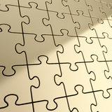 Puzzle jigsaw background made of shiny metal pieces Royalty Free Stock Photo