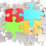 Puzzle jigsaw four color Royalty Free Stock Images