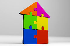 Puzzle, jigsaw, problem, solution, complicity, concept, house, solving, 3D... Stock Images