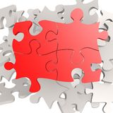 Puzzle jigsaw red Stock Photo