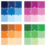 Puzzle - jigsaw vector set in multiple colors. White background Royalty Free Stock Photos